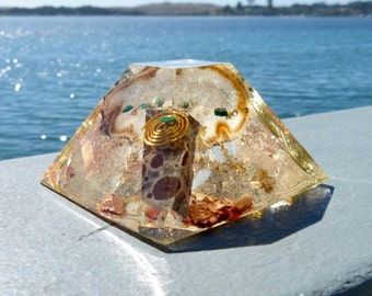 Ocean Jasper, Oco and Malachite Positive Energy Orgone Mayan Pyramid with Copper, Silver, Gold and Brass Spirals.