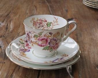 Spencer Stevenson 'Poppy' vintage china tea cup trio
