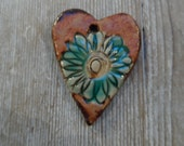 Rustic Aqua Flower Ceramic Pendant can be used as a Essential Oil Diffuser Pendant on unglazed back