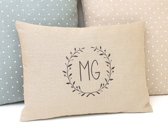 Monogram pillow Personalized pillow 13x19 Pillow light brown Linen pillow Embroidered pillow Embroidered letters Family pillow