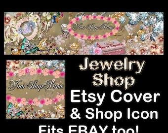 ELEGANT JEWELRY FLORAL Etsy Large Cover Banner Set/Premade Etsy Banner/Vintage Jewelry Shop Etsy Banner, Etsy Banner, Ebay