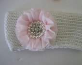 Custom Baby Toddler Winter White Knit Headbands with Flowers