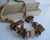 Vintage wooden wild safari animal necklace noahs ark glass shell beads wood rustic beads animal repurpose Ethnic Jewelry