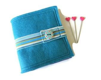 Turquoise Blue Felt Needle Case - Felt Needle Case - Sewing Needle Case - Hand Sewing Needle Case - Needle Book