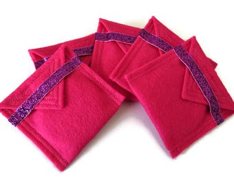 5 x Bright Pink Felt Pouch With Small Pocket Mirror- Fabric Covered Handbag Mirror - Compact Mirror with Pouch