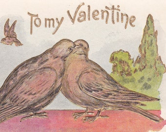 "Ca. 1901-06 ""Doves"" Undivided Back Valentine Greetings Postcard - 1824"