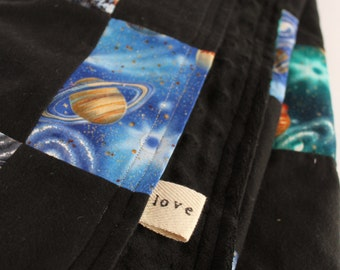 Space Quilt Toddler Baby Blanket Black Stars Planets Nursery Baby Boy Bumpy Africa Adoption Fundraiser