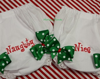 Baby Girl Christmas Diaper Cover - Naughty or Nice Girls Diaper Cover - Embroidered Baby Bloomers - Baby Shower Gift - Twin Bloomers