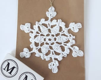 Crochet Snowflake in White Christmas Ornament