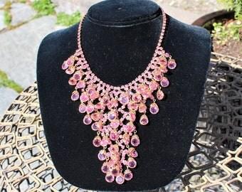 Vintage 1960's Pink Crystal Rhinestone Drop Bib Waterfall Necklace