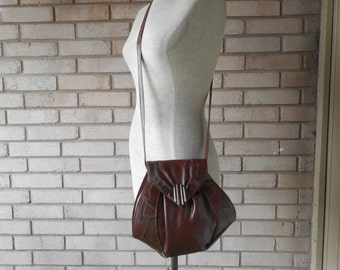 Vintage Brown Faux Leather and Snake Skin Trim Abstract 80s Purse Cross Body Bag