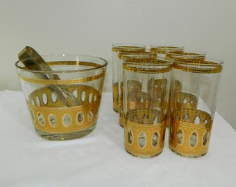 VTG Culver Antiqua Ice Bucket and 8 Glasses