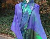 Easter Special Felted shawl, felted scarf, 2 silk layers, Organic, Hand made, in USA, gypsy shawl, fairy shawl, Fashion shawl,Wearable art,h