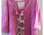 Raspberry Pink Linen Tunic Top Magnolia Pearl Like Womens XL Shabby Chic Ladies Clothing Mori Girl Lagenlook Bohemian Altered Repurposed