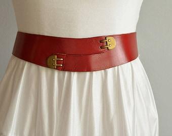Vintage 1950s Leather Belt / 50s Red Leather Shaped Corset Belt