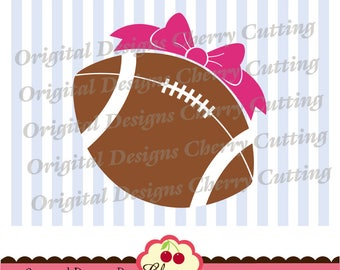 Football Svg dxf eps, Football with bow Silhouette & Cricut Cut degisn,football clip art -Personal and Commercial Use SPA02