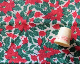 pointsettia christmas print cotton fabric -- 44 wide by the yard