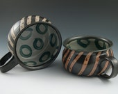 Soup Bowls Handmade Pottery in Black and Orange Stripe with Teal Circles