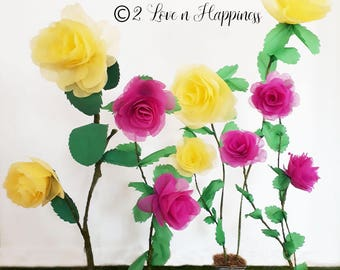 10 handmade gigantic roses spray in 4 stalks and leaves/ handmade paper flowers decor/wedding backdrop decor/birthday party decor
