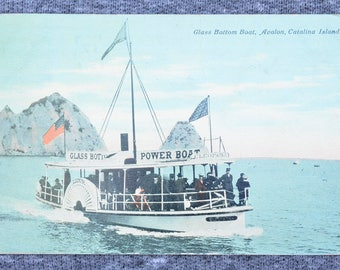 1911 Glass Bottom Boat Catalina Island post card