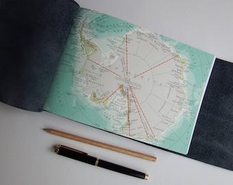 Antarctica South Pole Map Journal, Science Explorer Adventure Journal, Travel Scrapbook Notebook Sketchbook, Travel Gift, Landscape Journal