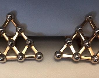 Vintage SWANK Matchstick Pyramid Goldtone and Silver Cufflink Set