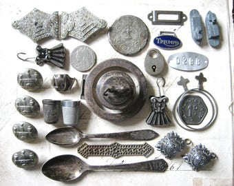 Antique Silver Tone Collection of Antique and Vintage Metal Finds, Components For Mixed Media Art, Assemblage Art Etc