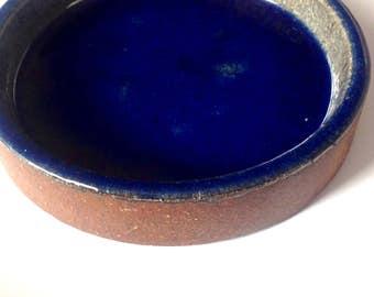 Vintage K. Galaaen 60s Porsgrund Norway ceramic dish 1967 blue glaze