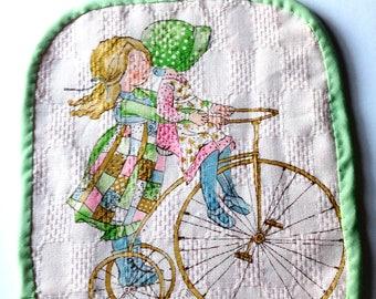 Vintage Holly Hobbie fabric pot holder old fashioned bike