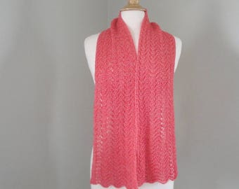 Cashmere Scarf, Watermelon Pink, Sparkly Metallic Scarf, Light Weight Summer Fashion, Hand Knit