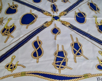 Vintage Bayron Silk Nautical Ropes Scarf