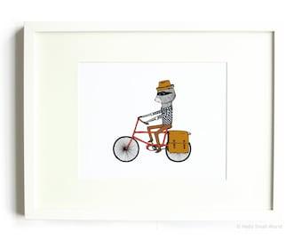 Bicycle Raccoon Print - Bike Art, Raccoon Riding Bicycle, Bicycle Art, 8x10 Print