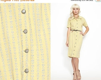 50% OFF ENTIRE STORE Vintage Yellow Print 40s Shirt Dress // Knit
