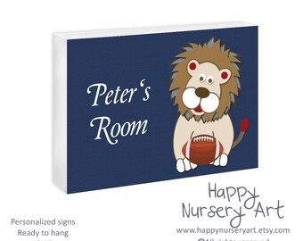 Personalized door sign for nursery, baby door plaque, baby door hanger, Baby room sign, boys nursery sign, lion, football, sports nursery