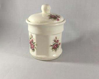 Vintage Covered Vanity Jar,Athena,Floral,Cottage Chic