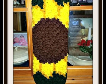 Sunflower Bag Holder, Crochet Pattern, Mini C2C