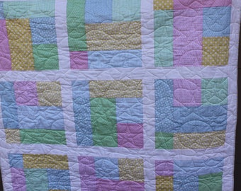 Pastel Windows- Baby Quilt- Green Minky backing
