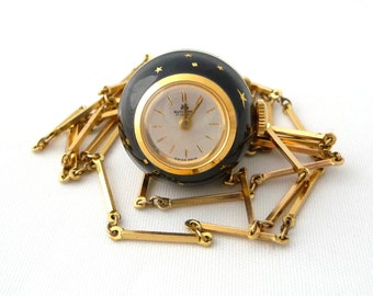Vintage Black Enamel Bucherer Pendant Watch Necklace Gold Stars with Chain 17 Jewels Swiss Made Works from TreasuresOfGrace