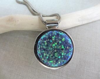 Handmade Necklace, Resin Necklace, Glitter Necklace, Silver Necklace, Blue Resin, Purple Resin, Sparkle, Star, Round, Women, Teen, Gift