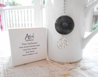 Tea Infuser / Free Shipping in USA / Peace Charm / Black Moss Agate Stone  / Lead Free /  Gift Boxed