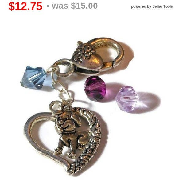 ON HOLD Dog purse clasp, antiqued silver tone dog, Tibetan silver heart charms, Swarovski crystal choice 3 colors, zipper backpack pull,