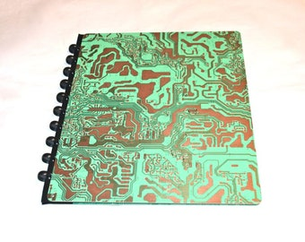 """Circuit Board Notebook 10"""" x 11.5"""" Green and Copper Metal Vintage"""