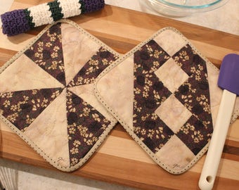 Hand Quilted Pot Holder-Crocheted Washcloth Set of 3 - Cream and Eggplant - Mother's Day Holiday Gift Basket Gift