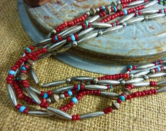 5 STRAND NATIVE AMERICAN Indian silver coral and turquoise bead vintage  necklace