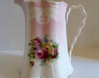 Antique Victorian Lusterware 8 inch Pitcher w/ Floral Design and Twisted Handle Crown Potteries Home and Living Home Decor Pitchers Vases