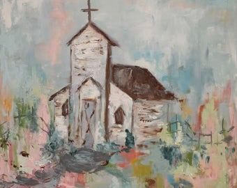 Church Art Print | Country Church | Church |  8x8|12x12|16x16