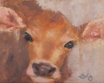 Cow Art Print | Calf | Barn Animal | 8x10|11x14|16x20
