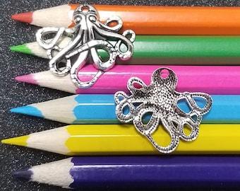 10 PCS - Octopus Kraken Ocean Animal Silver Tone Charm Pendant C1618