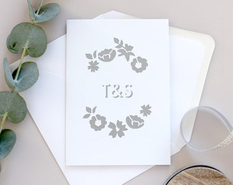 Personalised Initials Floral Papercut Card