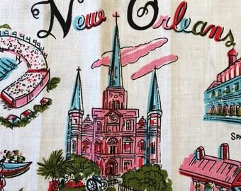 vintage new orleans calendar tea towel